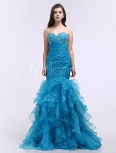 Sexy Blue Mermaid Trumpet Sweetheart Prom Dress