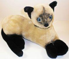 """VTG Dakin Siamese Cat Plush Kitten Stuffed Animal 12"""" 1973 Blue Eyes Laying Down"""