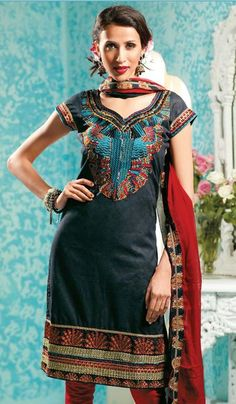 G3 Fashions Black Red Cotton Party Wear Designer Embroidered Salwar Suit  Product Code : G3-LSA104839 Price : INR RS 2782