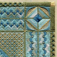 Two-Handed Stitcher: Ebb Tide, detail of Kreinik gold braid area