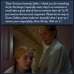 Anne: did I do alright?  Marilla: Yes, if you were addressing a business letter to a catalog store...