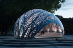 ICD and ITKE's lightweight pavilion mimics the structure of water spider's underwater nests!