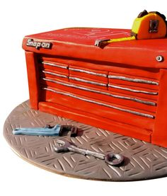 Snap-On Toolbox Cake by Hellenly cakes Carlingford. #cake #birthday #tools #mechanic #toolbox #snap-on #red #spanner #wrench #measuring-tape #engineer