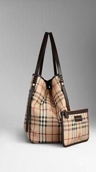 Medium Haymarket Check Tote Bag   Burberry