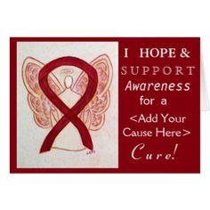 Burgundy Awareness Ribbon Custom Cause Cards