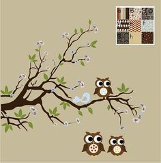 Baby Boys Wall Decals Nursery Branch Tree Decal with Flowers, Birds and Owl