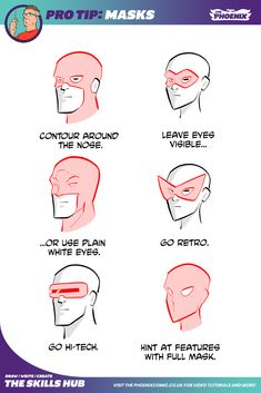 Human Body Drawing, Mask Drawing, Drawing Tips, Drawing Reference, Character Design Animation, Character Design References, Superhero Art Projects, Facial Expressions Drawing, Comic Tutorial