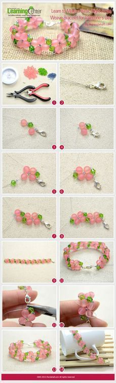 Want to present a handmade jewelry gift on Valentine's Day? This jewelry making tutorial is what you are looking for—how to make a basic right angle weave bracelet for Valentine's Day. Wire Jewelry, Jewelry Crafts, Beaded Jewelry, Jewellery, Pandora Jewelry, Jewelry Ideas, Jewelry Box, Jewelry Making Tutorials, Beading Tutorials
