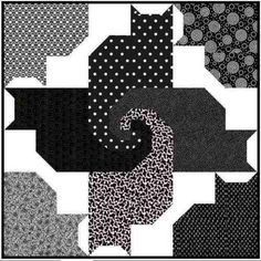 FOUR-BLACK-CATS-AND-FRIENDS-QUILT-pattern-Try-black-navy-green-multi-etc