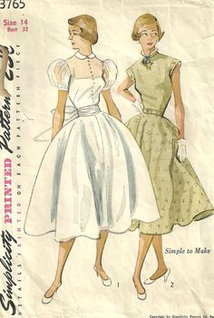 Simplicity 3765 Vintage 1952 Sewing Pattern BEAUTIFUL Simple Wedding Dress, Party Day Dress Fitted Sheer Bodice Opinion Sheer Puff or Cap Sleeve Full Circle Skirt Size 14 Bust 32 Waist 26 1/2 Hip 35 at studioGpatterns on etsy.com. jwt