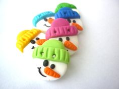 Christmas buttons snowman buttons handmade with by JustFingerPrint