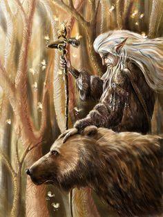 Elf shaman or druid with bear companion. Fantasy World, Dark Fantasy, Fantasy Art, Fantasy Warrior, Magical Creatures, Fantasy Creatures, Elf Druid, Bear Totem, Fantasy Images