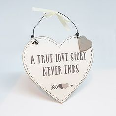 """The """"A True Love Story MDF Heart Plaque"""" is a really cute hanging heart sign. A really cute little engagement gift for the couples home. True Love Stories, Love Story, Wedding Plaques, Engagement Signs, Lesbian, Gay, Hanging Hearts, Heart Sign, Business Ideas"""