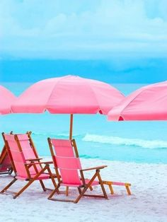 Pink beach chairs  - Pink Decor - Pink Design - Discover how to Use Pink in Feng Shui Design with a Professional Feng Shui Design Consultation at www.DeniseDivineD.com/feng-shui-design - Get Your FREE Feng Shui for Love Report Today!