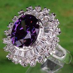 SIZE 8 STUNNING Statement 10x20 Amethyst 40 White Topaz Gems 925 Silver Ring  #StatementCocktailSolitairewAccents