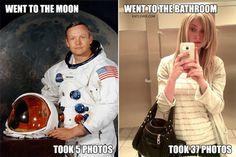 funny photos, astronaut neil armstrong 5 photos on moon woman takes 37 i n bathroom