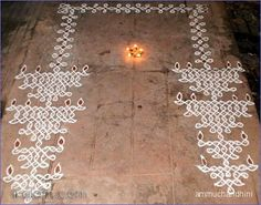 this is d spl kolam done for karthigai.I was waiting for so long for this festival to come so that i could try this kolam.u can see d same kolam as an animated one in Latha's gallery.HAPPY KARTHIGAI DEEPAM TO ALL. Simple Rangoli Designs Images, Rangoli Designs Flower, Rangoli Border Designs, Rangoli Designs Diwali, Rangoli Designs With Dots, Kolam Rangoli, Flower Rangoli, Beautiful Rangoli Designs, Indian Rangoli