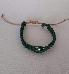 Macrame Bracelet Leather with Swarovski Scarab #La3DesignsHandmade #Macrame
