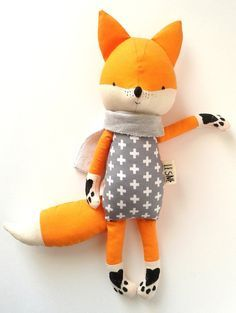 BO the fox. made-to-order. eco toy. gift for children. stuffed fox. textile fox. kids room decorative fox.