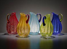 Latticino Glass Pitchers by Sam Stang