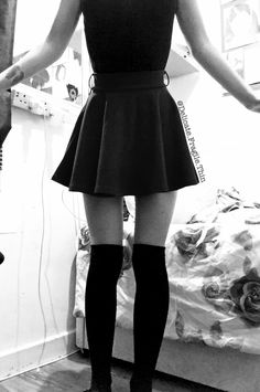 ~ thinspo ~ black and white thinspo ~ skater skirt ~ thigh high socks ~ skinny ~ thin ~ autumn thinspo ~ winter thinspo ~ grunge thinspo ~