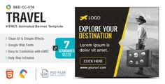 HTML5 Travel Banners - GWD - 7 Sizes(BEE-074) . BEE-CC-074-Travel