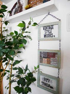 100円ショップのフォトフレームを使って存在感抜群の連結フレームを作ってみました! はがせるペイントも使ってみたかったので楽しい時間でした♪ 簡単リメイクでおうちの壁を飾ってみてはいかがでしょうか? Diy And Crafts, Projects To Try, Vintage Fashion, Display, Frame, Interior, Home Decor, Kids Rooms, Style