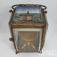 Incredible Antique French Pocket Watch Stand - Turns your pocket watch into a bedside clock and safe keeper. With a eglomise (painted on the bottom of the glass) design of the Eiffel Tower in Paris on the top. Bedside Clock, Kiwiana, Paris Eiffel Tower, Glass Design, French Antiques, Paris France, Pocket Watch, Decorative Boxes, The Incredibles