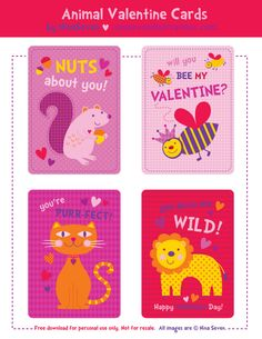 Free Printable Valentines From We Love To Illustrate. They Are Very Cute!