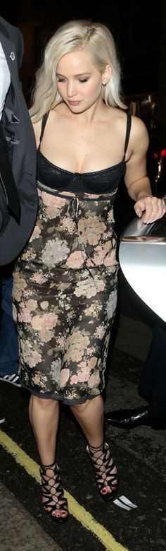 Who made Jennifer Lawrence's rose bra dress, jewelry, and black lace up sandals?