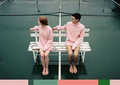 color palette: green + pink.