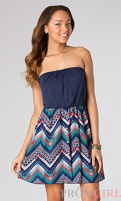 Short Strapless Dress with Print Skirt at PromGirl.com