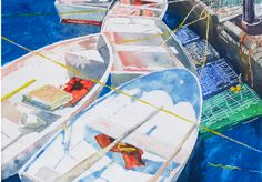 "boats friendship maine (2) 14"" x 22"" micheal zarowsky watercolour on arches paper / private collection"