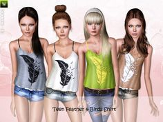 Feather/Birds Shirt, Hotpants, Panda Top and Shine Leggings by Lillka for Sims 3