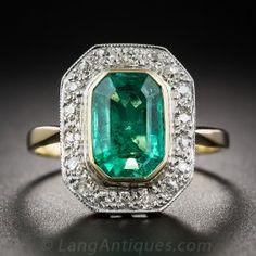 1.85 Carat Vintage Emerald and Diamond Ring