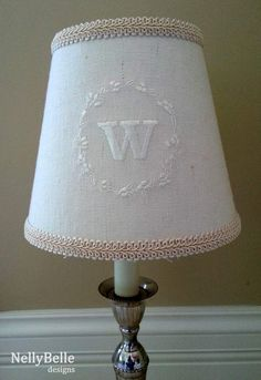 Comptoir de famille lampshade monogram chambray embroidered 22cm monogrammed lampshade ivory monogram on linen nellybelle designs mozeypictures Image collections