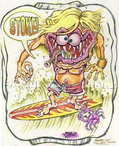 Johnny Ace Original Art Rat Fink SURFINK Surf MONSTER Revell Ed BIG DADDY Roth…