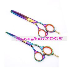 "5.5"" TITANIUM Barber's Salon Hair Cutting Thinning Scissors Shears 2Pcs/Set"