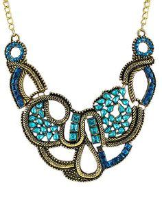 Blue Gemstone Gold Chain Necklace 8.93