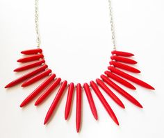 $60  #Red #spikes #Necklace Red Turquoise by BijiJewelry https://www.etsy.com/listing/217560639/new-years-sale-red-spikes-necklace-red?ref=shop_home_active_1&ga_search_query=heart