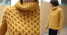 How to knit this honeycomb stitch.  Plus free sweater pattern in size medium.  Sweet.