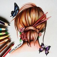 """Girl with pretty hairstyle by @shining_star_draws  For daily pics of tattoos: @inkspiringtattoos"""