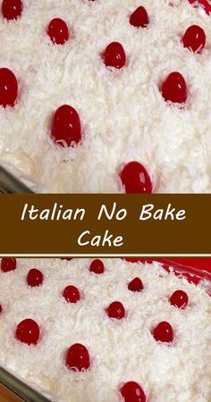 Non Bake Desserts, Easy Desserts, Delicious Desserts, Italian Desserts, Cupcake Recipes, Cupcake Cakes, Dessert Recipes, No Bake Cake, Blondie Dessert