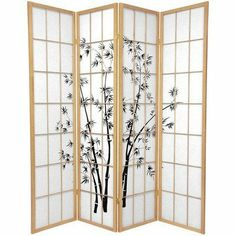"Oriental Furniture 6-Feet Japanese Style Lucky Bamboo Rice Paper Room Divider Screen, Natural 4 Panel by ORIENTAL FURNITURE. $198.00. Premium kiln dried spruce, classic japanese joinery, lattice and design frontside only. 70"" by 17.5"" panels, 3, 4 or 6 panels, choose black, natural pine, rosewood or honey. Tough, durable fiber reinforced shade, beautiful block art print design, two way hinges. Browse our huge selection of japanese, chinese, asian décor, room dividers, art, l..."
