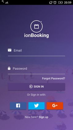 ionBooking  - Ionic 3 Hotel Booking Theme with Rent a Car and Tour Activities.  Login Screen