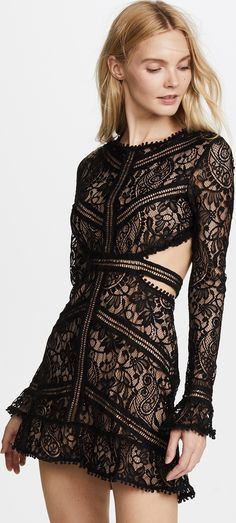January 2018 -- for love and lemons black lace dress, For Love & Lemons Emerie Cutout Dress, what to wear to Las Vegas, black lace backless dress Cutout Dress, Lace Dress, Cute Dresses, Beautiful Dresses, Vegas Dresses, Dress Cuts, China Fashion, Fit And Flare, Style Inspiration