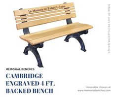 The Cambridge bench is a memorial park bench with design and detail not usually found on other recycled plastic benches. Maintenance free with color molded throughout; no painting, no peeling, no splitting.  #memorialbenches #bench #green #sky #park #art #design #seating #usa #likeformore