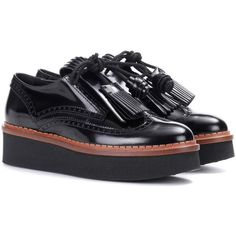 Tod's Leather Platform Derby Shoes (9.178.275 IDR) ❤ liked on Polyvore featuring shoes, oxfords, black, black leather shoes, kohl shoes, leather footwear, platform oxfords and real leather shoes