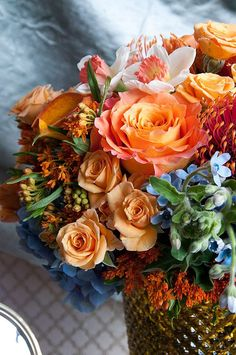 Shades of Autumn fall on a bouquet of Roses.