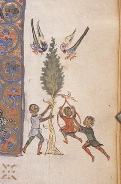 gr. 550 251r Scene, Sports and Games: Swinging 12 th C Index of Christian Art - Millet Database: France - Paris: Bibliothèque Nationale